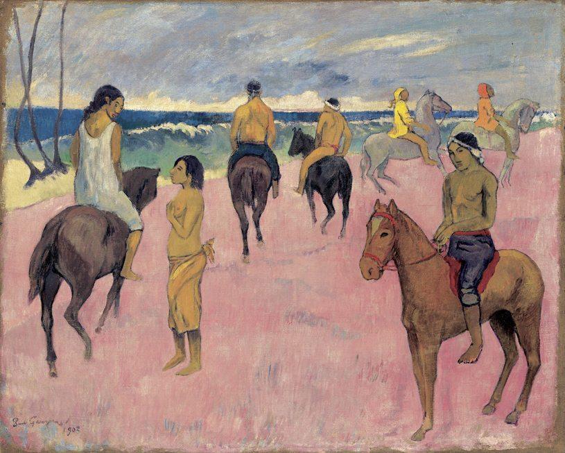 """Paul Gauguin, """"Cavaliers sur la plage (II), Reiter am Strand (II)"""", 1902, Öl auf Leinwand, 73,8 x 92,4 cm, Privatsammlung (Bild: © Fondation Beyeler 2014, Switzerland)"""