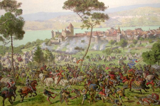 Das traditionsreiche Schulfest erinnert an die Schlacht bei Murten / Gemälde von Louis Braun (Bild: RicciSpeziari, Wikimedia, CC)