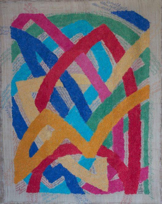 Solange Lasbleis, Alles ist Farbe, Ramie., Brennesselfaser, selbstgefärbt, Nadelfilz.