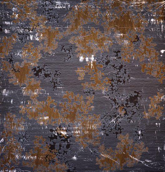 Urte Hanke, Struktur und Raum 4, Baumwolle bemalt mit Acryfarbe, maschinengenäht, maschinengequiltet.