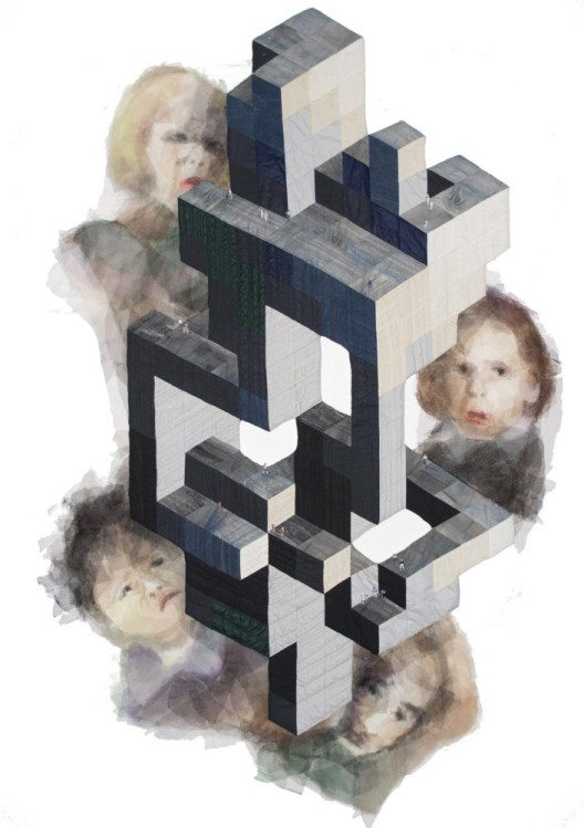 Susanne Klinke, Luftschloss, Baumwolle, teils bemalt, Tüll, Miniaturfiguren, Patchwork, handgenäht, maschinengequiltet.