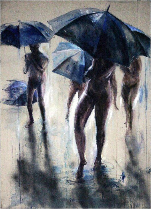 BROMER Kunst, Sam Drukker: Rain (white), oil on canvas, 125x90 cm, 2013 (© Contemporary Art Fair Zurich, BROMER Kunst, Sam Drukker, www.art-zurich.com)