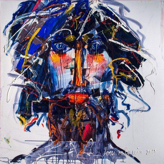 Galleria d'Arte Cascio, Lorenzo Cascio: ULISSE, Mixed Media, oil acrylic and collage on canvas, 100x100 cm, 2015 (© Contemporary Art Fair Zurich, Galleria d'Arte Cascio, Lorenzo Cascio, www.art-zurich.com)