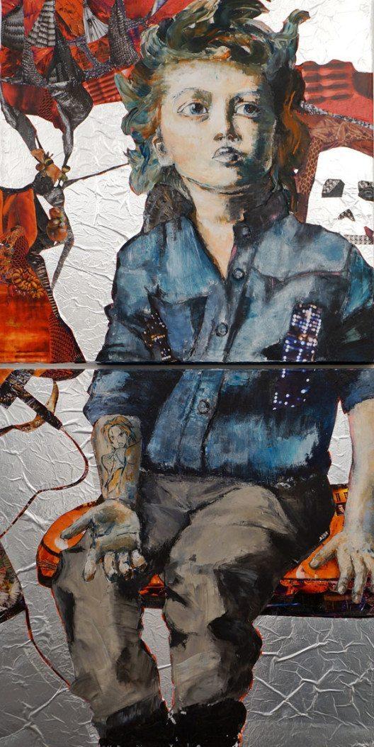 Claudia Mayer-Mallenau: Rebel, Spachteltechnik, Collage, 200x100 cm, 2015 (© Contemporary Art Fair Zurich, Claudia Mayer-Mallenau, Claudia Mayer-Mallenau, www.art-zurich.com)
